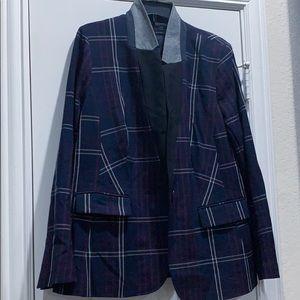 Navy plaid blazer- Size 16